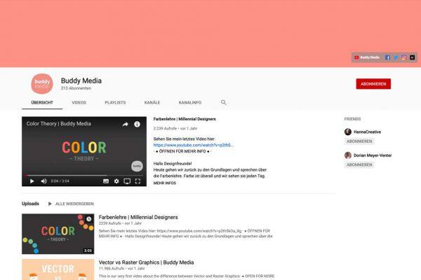 Eine Bildschirmaufnahem des YouTube Kanals von Buddy Media
