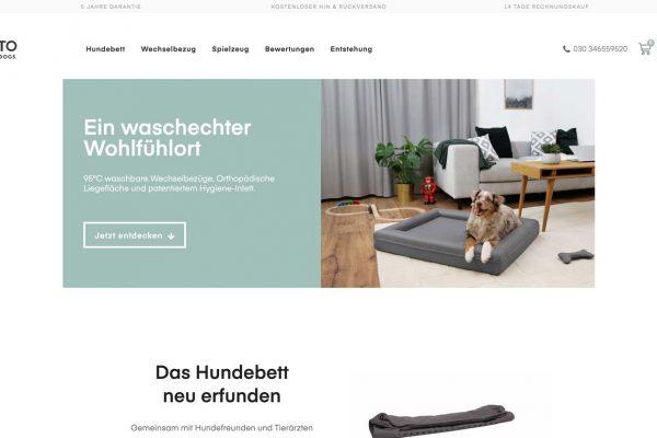 Eine Bildschirmaufnahme der Webseite von Finnto for Dogs