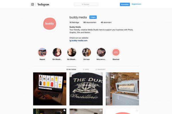 Eine Bildschirmaufnahem des Instagram Accounts von Buddy Media