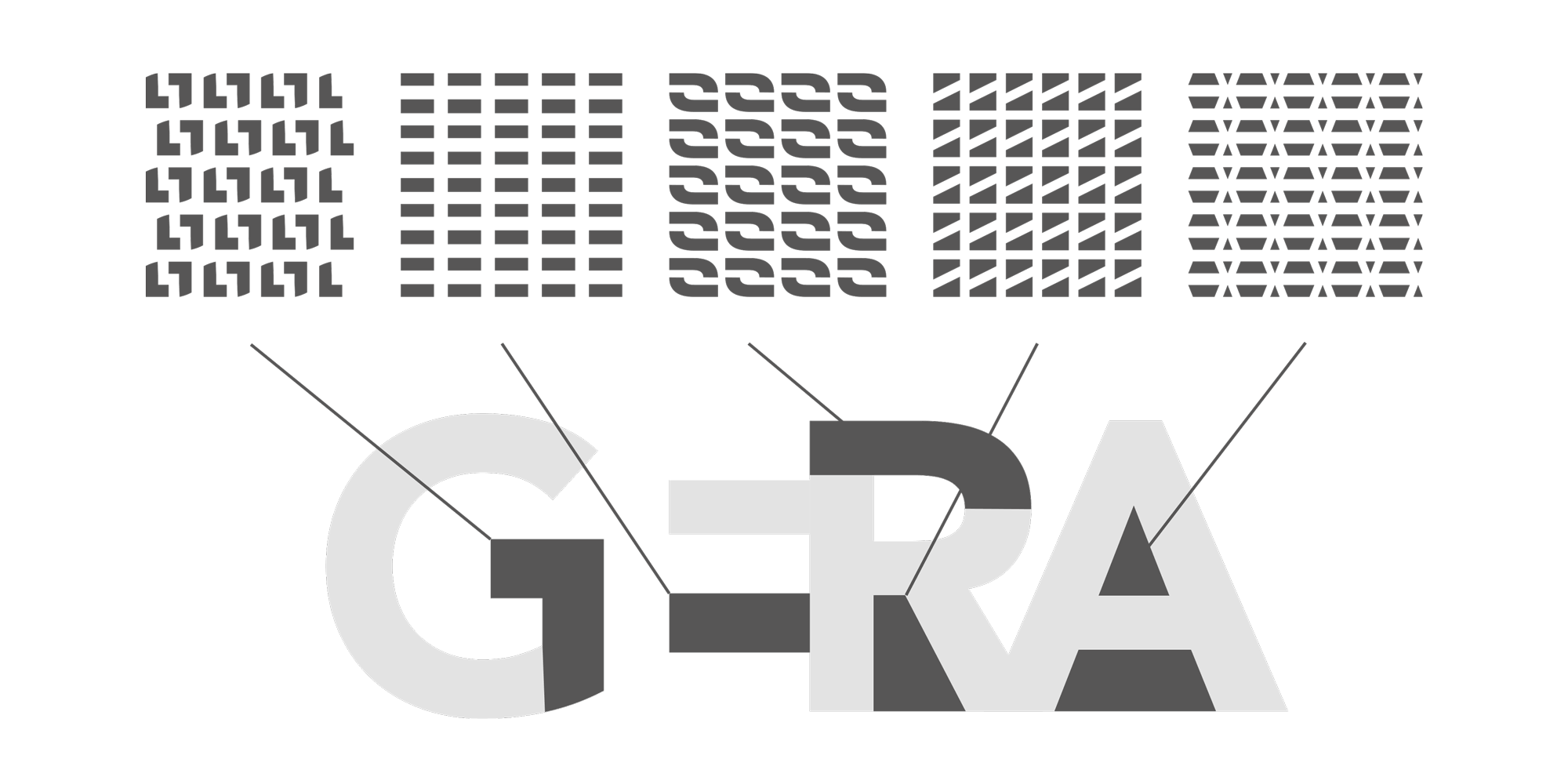 Aus Teilen der Buchstaben des neuen Logos entstehen fünf unterschiedliche Muster.