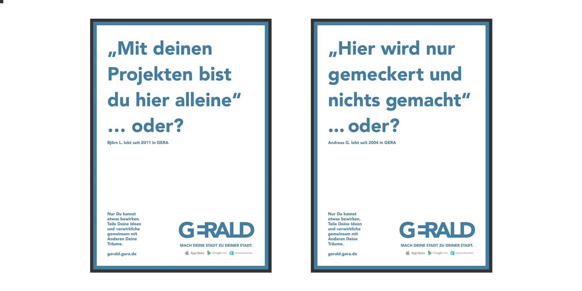 Zwei Poster der Plakatkampagne der Stadtmarketing App Gerald in weiß mit blauer Schrift: