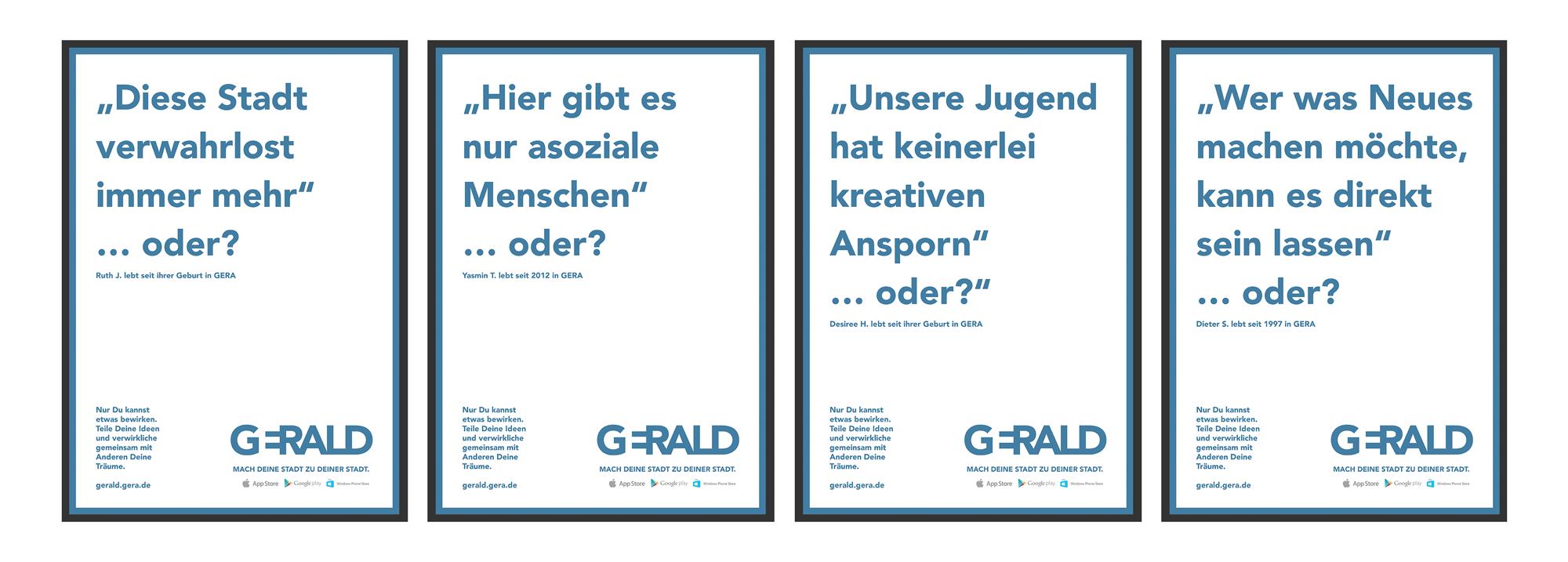 Vier Poster der Plakatkampagne der Stadtmarketing App mit blauer Schrift auf weiß von frechen Zitaten der Genscher Bürger