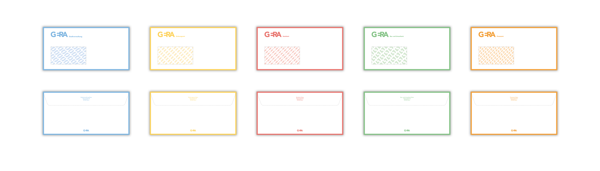 Ein Mockup der Briefumschläge mit jeweils einem bunten Rahmen vorne und hinten und dem Muster innen drin