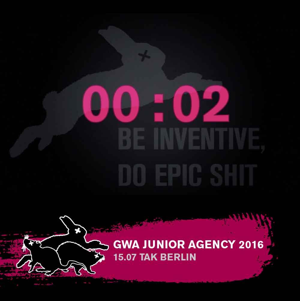 Das visuelle Konzept der Veranstaltung mit Countdown, Bauchbinde und dem Motto: Be Inventive, Do Epic Shit