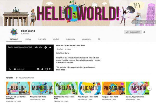 Eine Bildschirmaufnahme des YouTube Kanals von Hello World.