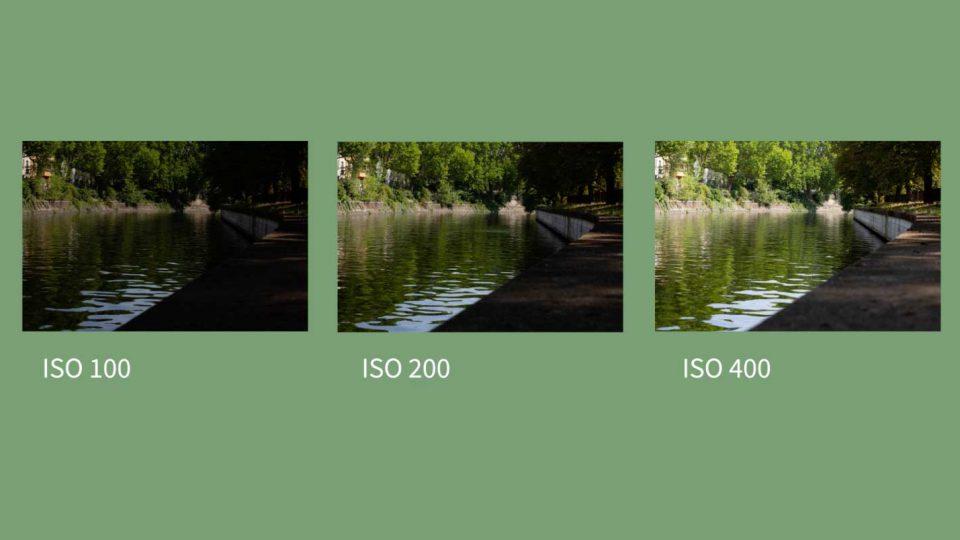 Drei gleiche Bilder des Landwehrkanals mit unterschiedlich hohem ISO (100, 200 und 400) nebeneinander als Verdeutlichung für das zunehmende Rauschen bei hohem ISO