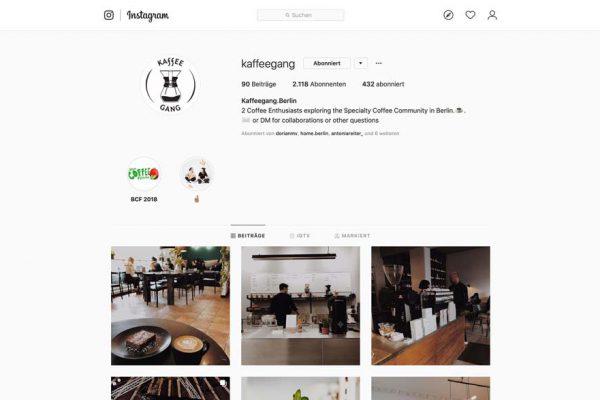 Eine Bildschirmaufnahme des Instagram Accounts der Kaffeegang