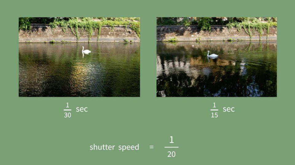 Zwei Bilder eines Schwans im Landwehrkanal mit unterschiedlicher Belichtungszeit nebeneinander als Beispiel für Verwicklung durch die Belichtungszeit