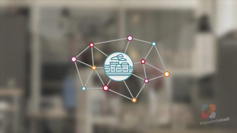 Eine 2D Netzwerk Grafik der Engagierten Stadt und Syspons vor unscharfem Grund