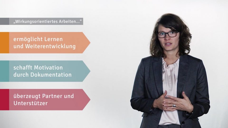 Hanna Hielscher, Beraterin bei Syspons vor weißem Hintergrund. Neben ihr 2D Grafiken die Wirkungsorientiertem Arbeiten erklären.