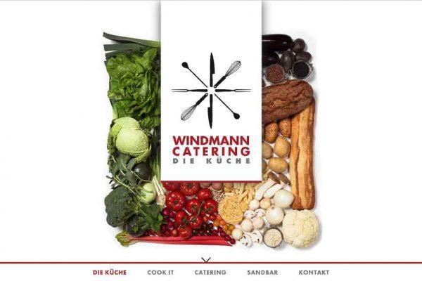 Eine Bildschirmaufnahme der neuen Windmann Catering Website mit der Gemüsecollage im Hintergrund