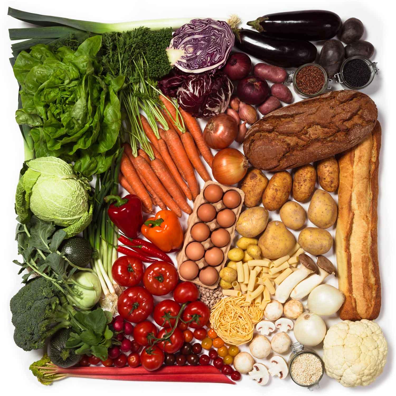 Das fertige Bild einer Collage aus Gemüse als Firmenbotschaft – frisch, gesund, nachhaltig, bio für Windmann Catering