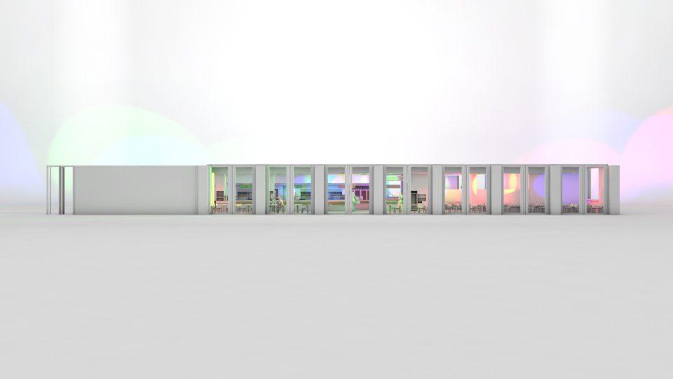 Screenshot einer der letzten Frames auf dem die Frontansicht des Bistros gezeigt wird. Bunte Lichter stellen eine Partyszene dar.