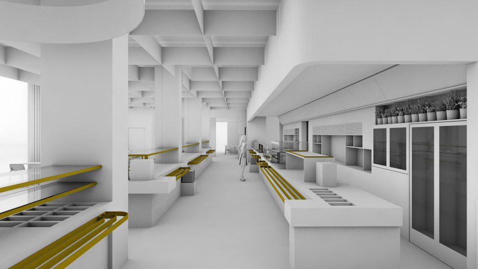 Ein Screenshot aus Animation auf dem die Theke der Essensausgabe gezeigt wird.