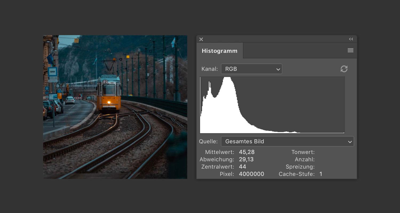 Ein dunkel belichtetes Bild einer budapester Straßenbahn mit seinem linkslastigen Histogramm.