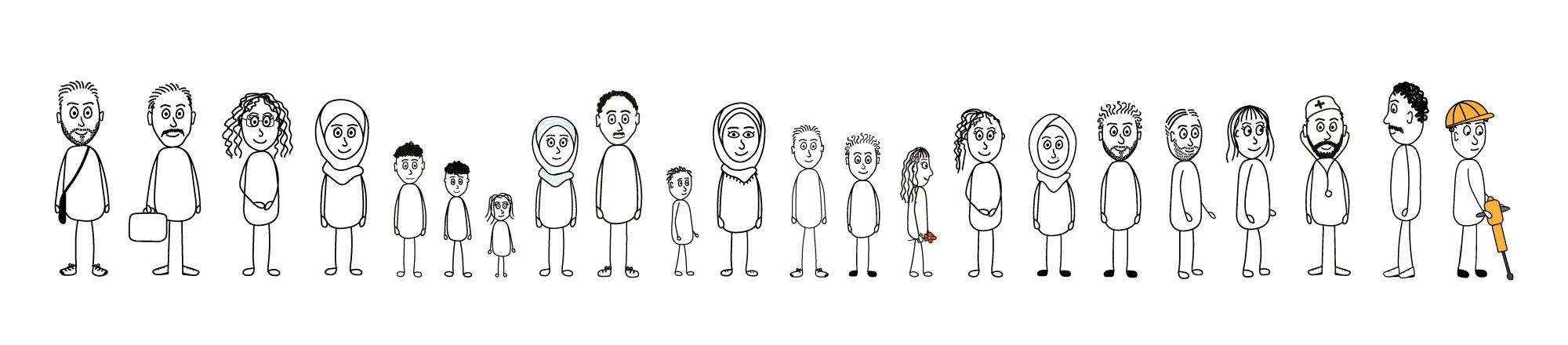 Alle 22 illustrierten Charaktere stehen nebeneinander.