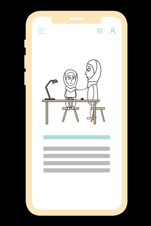 Auf einem illustrierten Smartphone ist die Animierte Videoserie der Selbsthilfe App zu sehen.