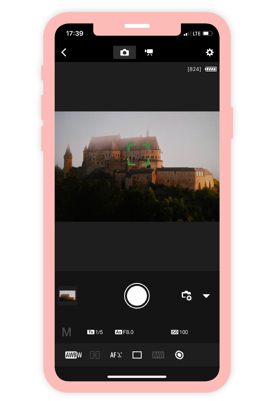 Ein Screenshot der Camera Remote App des Kameraherstellers Canon.