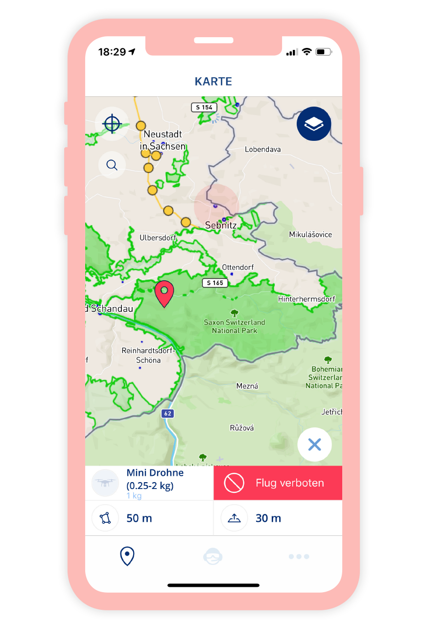 Ein Screenshot der Drohnen App von der Deutschen FlugSicherung.