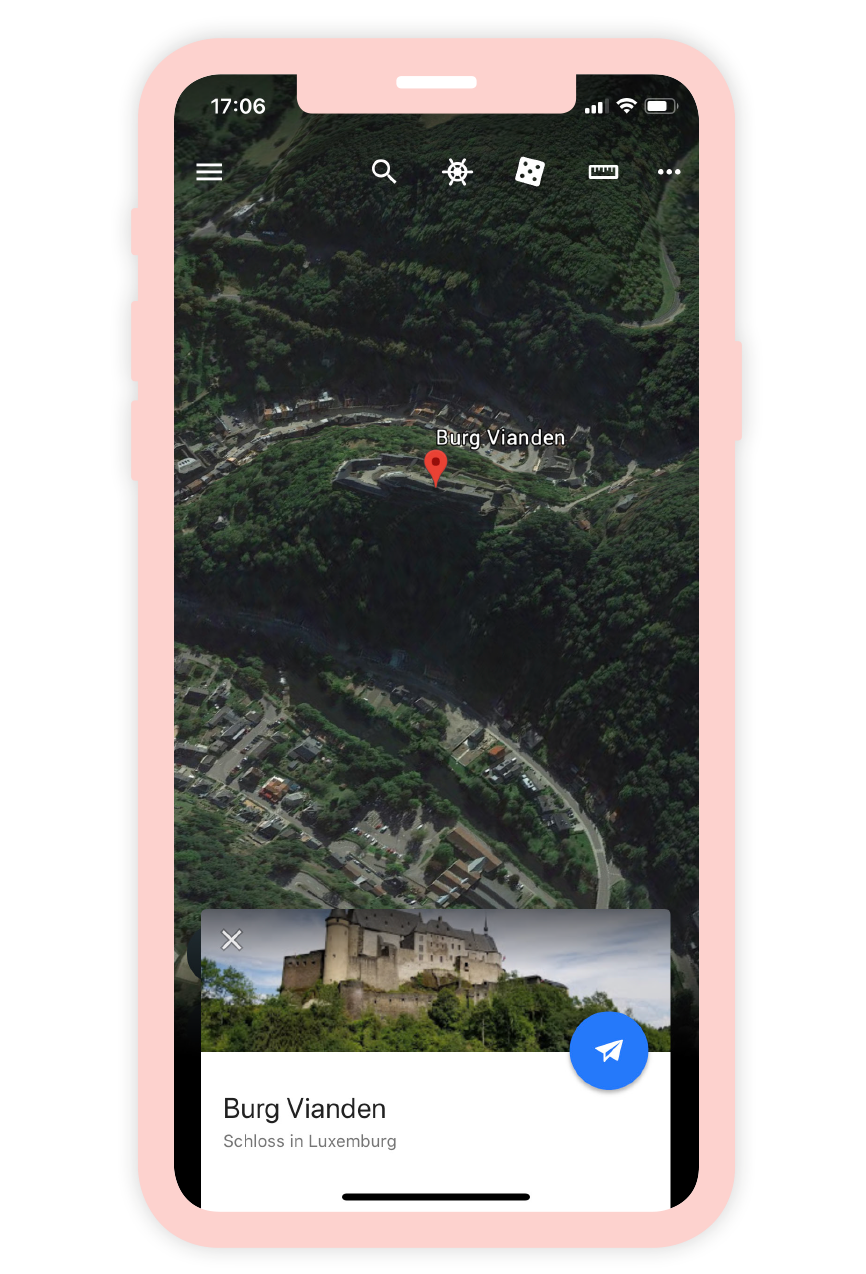 Ein Screenshot der Google Earth App.