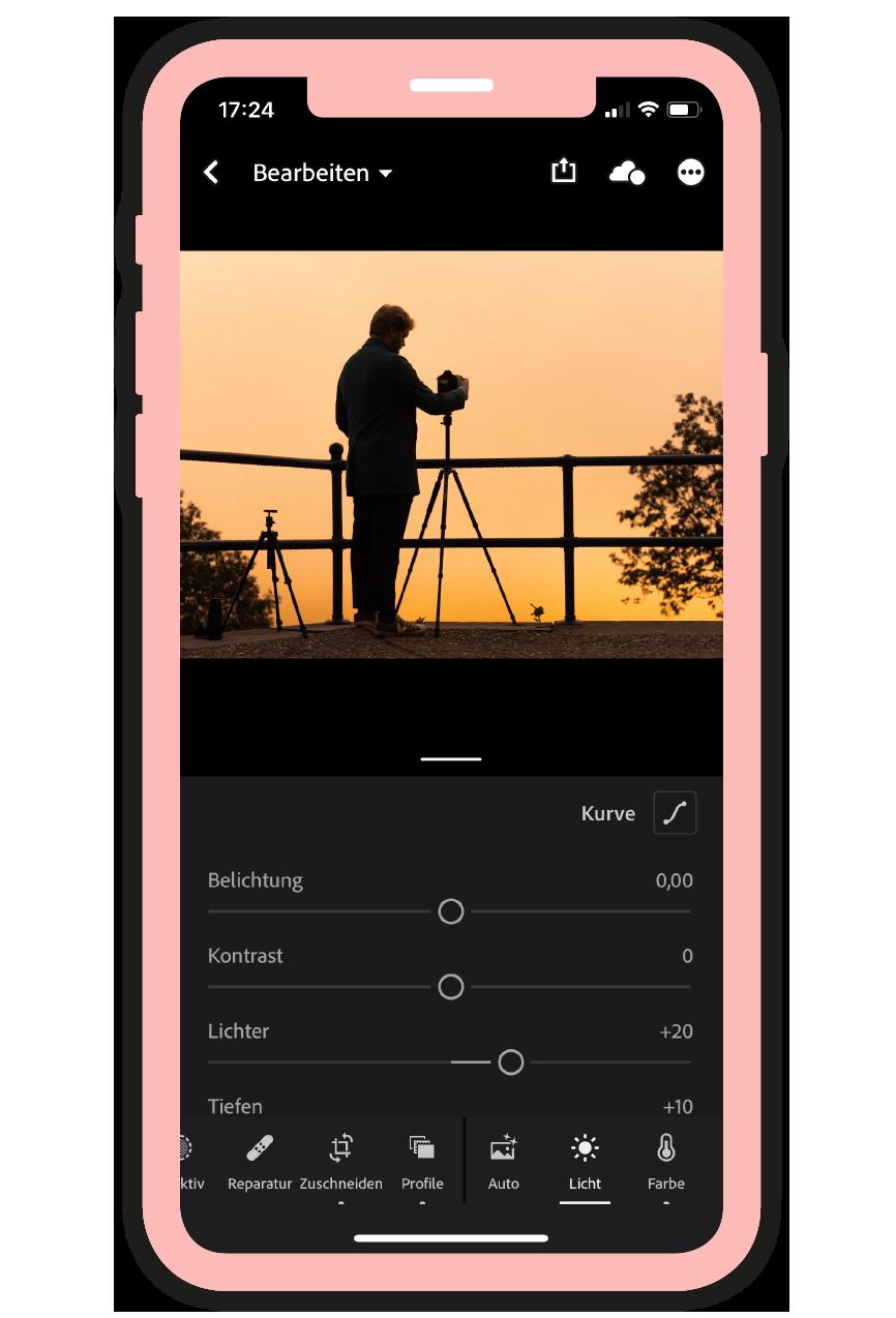 Ein Screenshot der Bildbearbeitungsapp Lightroom der Firma Adobe.