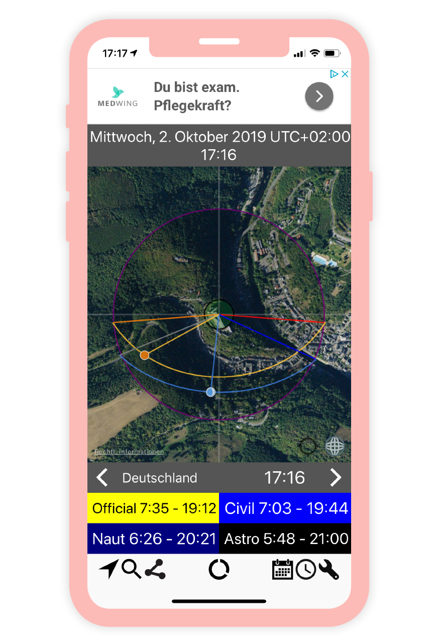 Ein Screenshot einer Sonnenstunden App.