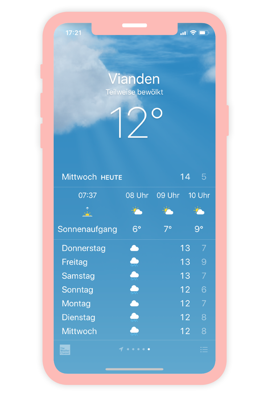Ein Screenshot Apples eigener Wetter App.
